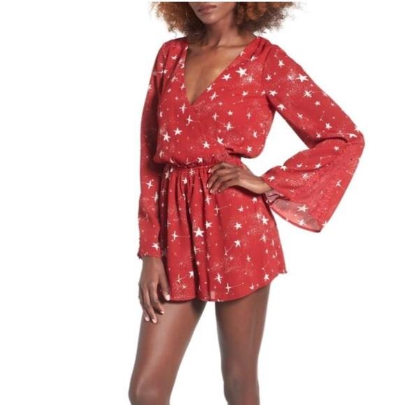 Anthropologie Dresses & Skirts - Red star print bell sleeve romper Valentine's Day